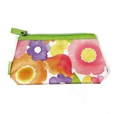 Clinique Make Up Bag Cosmetic Case Zipper Pink Green Purple Yellow Flower Floral