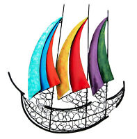 Contemporary Metal Wall Art Sculpture Multicolored Sailing Boat At Sea 60 cm new