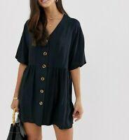 ASOS Black V-Neck Button Through Smock Dress UK 6 US 2  EUR 34   (wb67)