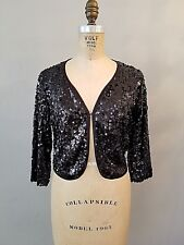 Black Sequin Jacket Top Shrug Womens Size Small New Without Tags 3/4 Sleeve