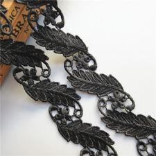 1Yard Black Leaf Embroidered Lace Edge Trim Ribbon Wedding Applique Sewing Craft