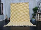 Handmade Moroccan Beni Ourain Carpet 5'7x8'5 Checkered Berber Yellow White Rug