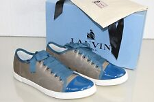 $595 NEW Lanvin Basket Basse Low Top Sneakers Gray Turquoise Lace up Shoes 40