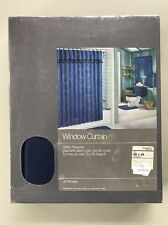 Vintage JCPenney Dynasty II Window Curtain 68x45 Navy Blue Ruffled Bathroom NOS
