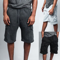 Men Adjustable Drawstring Cotton Blend Multi Pocket Cargo Shorts Pants Trousers