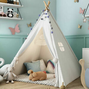 Large Cotton Canvas Teepee kids Tent Childrens Wigwam Indoor Outdoor Play House