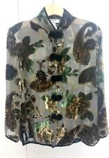 Ania A Gorgeous Sheer Cut Velvet Green Flower Burnout Shirt Jacket Asian Size M