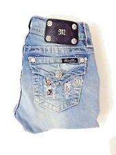 Miss Me Womens Juniors Jeans Size 25 Signature Cuffed Capri Rhinestone (M*88)