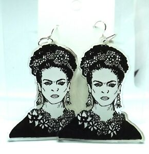 Recycled Frida Statement Earrings Sterling Silver 63mm charm Handmade