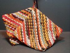 Double Thick Crocheted Hot Pad Pot Holder Pair - Fall Leaf Colors - brown yellow