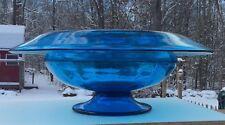 """Sinclaire Art Glass Blue 14"""" Center Bowl #10712"""