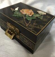 Vintage Japanese Agate Quartz Jade Hardstone Black Lacquer Brass Jewellery Box
