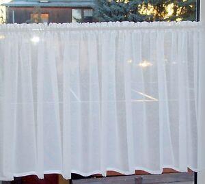 Scheibengardine Weiß  200cm x 80cm hoch Gardine Fenster 90cm bis 100cm
