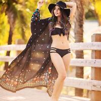 Damen Sommer Schwarz Chiffon Cardigan Longshirt Strand Mantel Bikini Cover Up