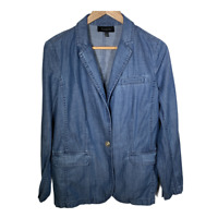Talbots Womens Blazer Jacket Coat Blue Chambray Denim Work Casual Size Medium