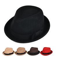 Men Women 100%Wool Fedora Wide Brim Straw Trilby Cap Unisex Summer Beach Sun Hat