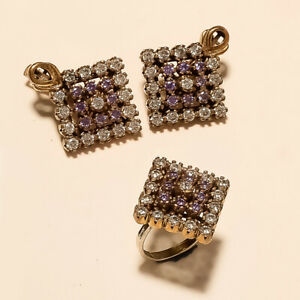 Russian Purple Zircon & White Topaz Earrings Ring 925 Sterling Siver Jewelry New