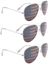 3 PAIRS WHITE FRAME Aviator USA American US Flag Sunglasses United States patrio