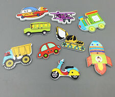 100X Motorcycle car aircraft Wooden Button Sewing Scrapbooking transport tool
