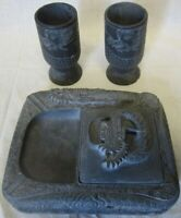 1950s KOREA Hand Carved Stone Dragon Cigarette Case Ashtray Two Cup Set Folk Art