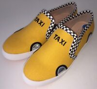 Kate Spade New York Yellow Linda Taxi Slip On Sneakers Checkered Shoes Flats