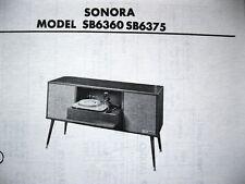 SONORA SB6360, SB6375 PHONOGRAPH PHOTOFACT