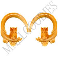 0687 Spiral Owl Taper Expander Stretcher Plugs Hoops 0G 8mm L Brown Beige Blonde