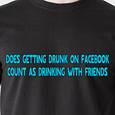 getting drunk on facebook count as drinking with friends bar retro Funny T-Shirt