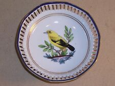 "Handgemalt 5"" Round Pierced dish beautiful hand painted yellow finch table decor"