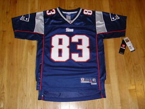 New Reebok WES WELKER Blue NEW ENGLAND PATRIOTS Youth NFL Team Stitched JERSEY L