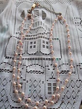 Pink tones faux pearl & faux crystal - double strand necklace with extender