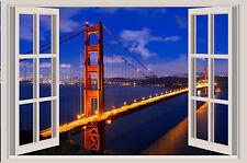 San Francisco Golden Gate Bridge Window Color Wall Sticker Mural 36x24
