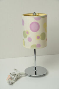 """14"""" Retro Side Table Lamp - Spots/Circles Novelty Silver, Purple, Green, Yellow"""