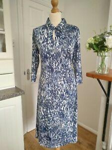 New David Nieper 16 Collared Faux Wrap Dress Grey Blue Tie Waist jersey soft
