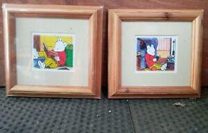 2 x Rupert bear Framed Pictures pine