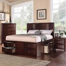 Elegant Bedroom Queen Platform Bed w/ 6 Underbed Drawers 14 Slats in Espresso