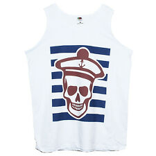 SAILOR SKULL T SHIRT VEST- Nautical Goth Tattoo Retro Printed Unisex Classic Top