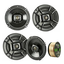 "4X Polk Audio 6.5"" 300W Car/Boat/ATV Speakers, Enrock 14 Gauge 50' Wire Cable"