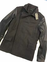 """ALL SAINTS BITTER BROWN """"MAJOR"""" PEACOAT LEATHER COAT JACKET - XS S M L NEW TAGS"""