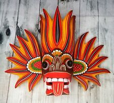 "10"" Wooden Hand Craved Sri Lankan Traditional Fire Mask Wall Hang Home Decor"