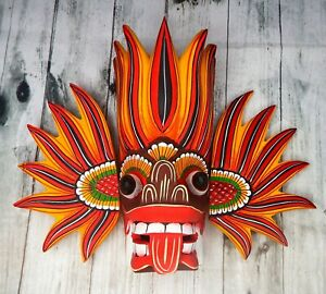 """8"""" Wooden Hand Craved Sri Lankan Traditional Fire Mask Wall Hang Home Decor"""