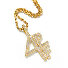4PF Letters Hip Hop Pendant Necklace for Men and Women Clear AAA+ CZ Cos Jewelry