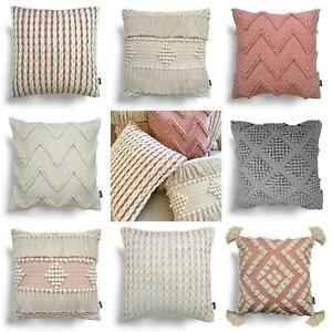 "Blush Cushion Covers Pink Cream Rocco Boho Tufted Tassel Filled Cushions 17""x17"""