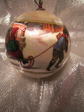 "Vtg. Satin Currier and Ives A RIDE TO SCHOOL Christmas Ornament 3""An original Cu"