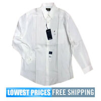 Nautica Men's NWT 16H 32/33 All White Cotton Button Down Long Sleeve Shirt F/S