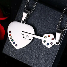 Stainless Steel Couple Pendant Necklace Key Heart Gay LGBT Pride Necklace