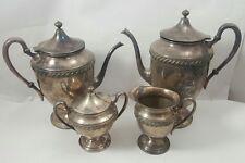 Antique SILVER-PLATED COPPER 2 Coffee Pots Creamer & Sugar Bowl ROGERS SILVER Co