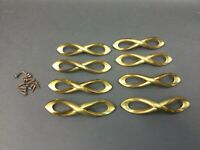 8 lot Vintage brass Pulls dresser kitchen cabinet drawer door  MCM