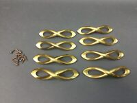 8 lot Vintage brass Pulls dresser kitchen cabinet drawer door  MCM