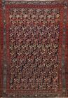 Antique Pre-1900 Geometric Malayer Area Rug Hand-knotted Oriental Carpet 4x5 ft